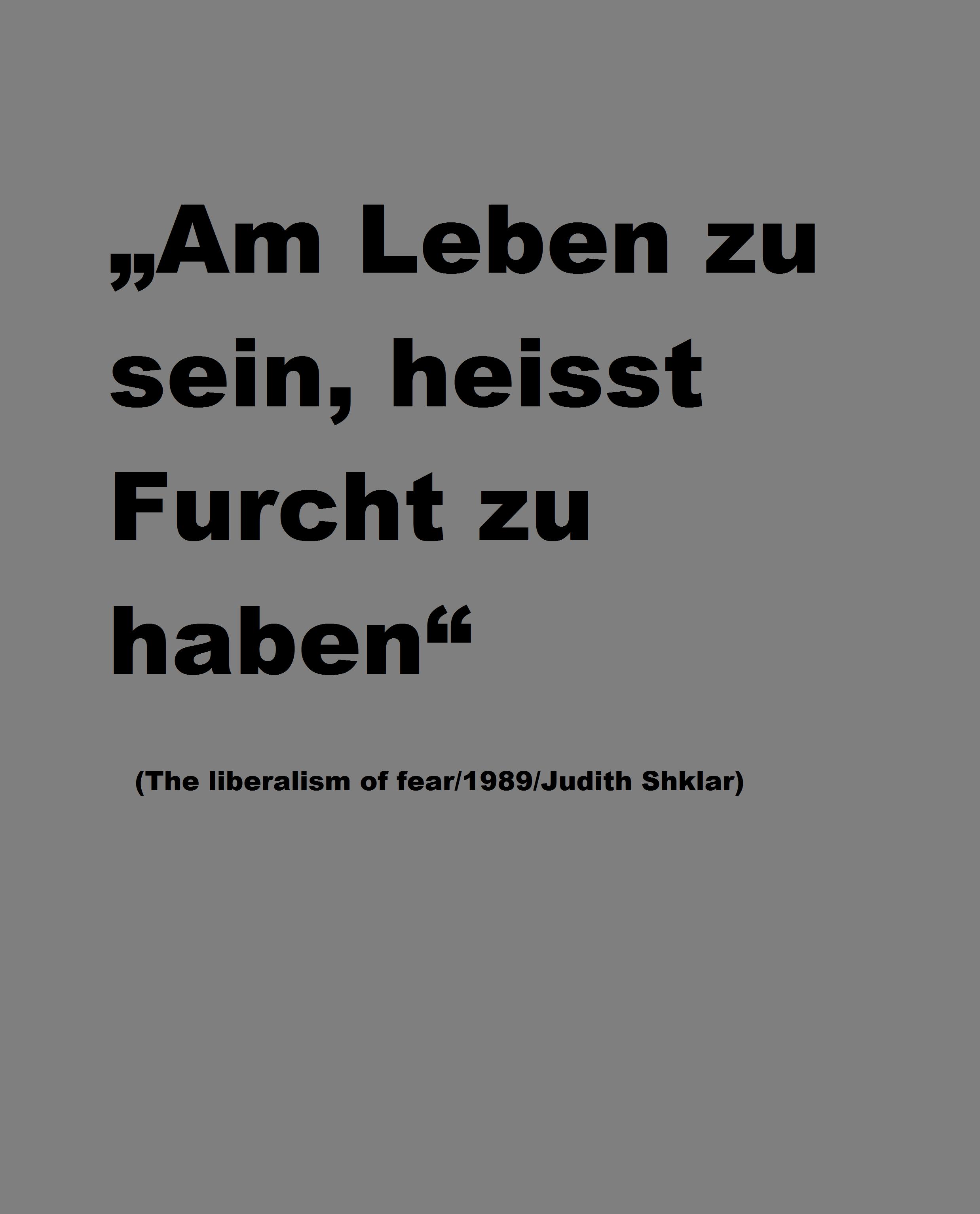 """Am Leben zu sein, heisst Furcht zu haben"" (The liberalism of fear/1989/Judith Shklar)"