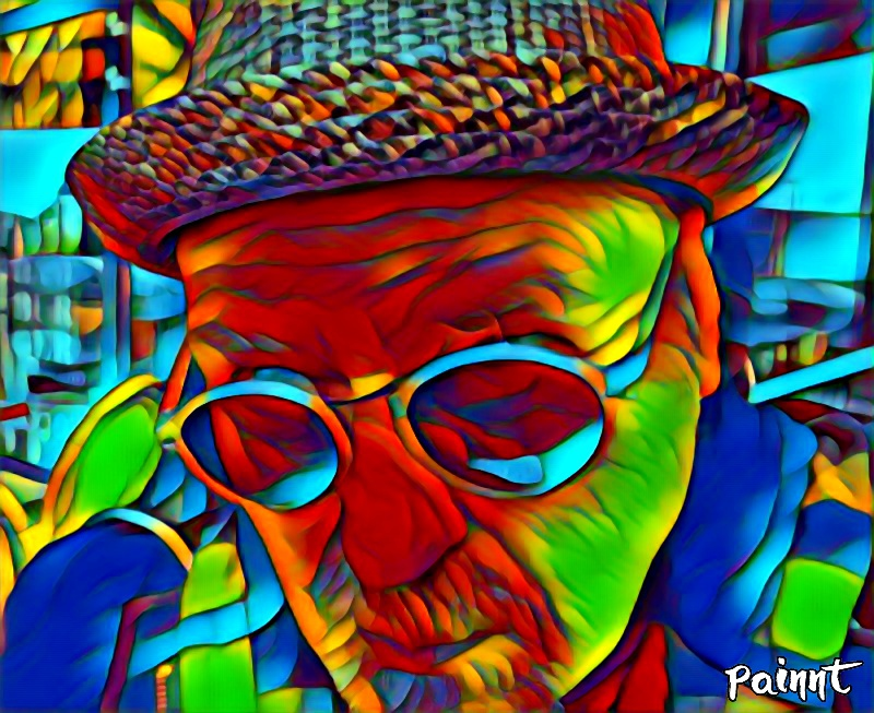 man with hat and sunglasses - colorful