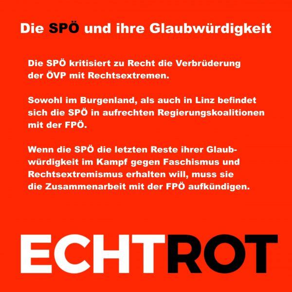 Die SPÖ und ihre Glaubwürdigkeit.